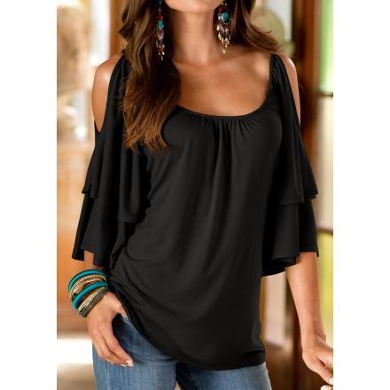 Mujeres Hombro de la blusa de cuello redondo camisa de la tapa del volante de la moda camiseta de la camiseta