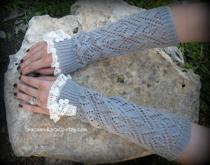 Lacey Arm Warmers - womens Fingerless Gloves - Light Grey open-knit with lace trim and faux buttons: Lights Grey, Legs Warmers, Fingerless Gloves, Warmers Women, Color Women, Lacey Arm, Blue Lace, Arm Warmers, Lace Trim