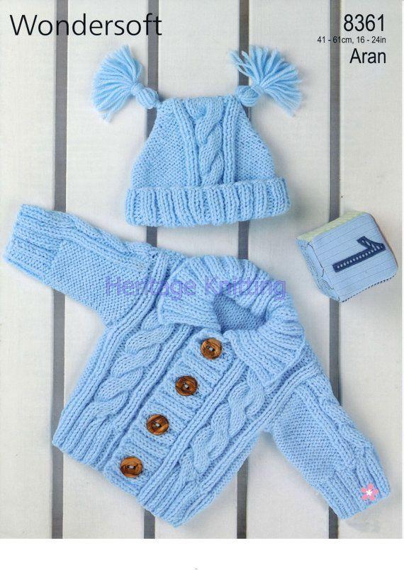 b14ea9f58 PDF Digital Knitting Pattern Baby Childrens Aran Cable Cardigan ...