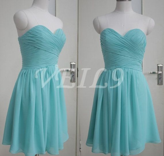 Turquoise Sweetheart Short Tiffany Blue Bridesmaid dress by VEIL9
