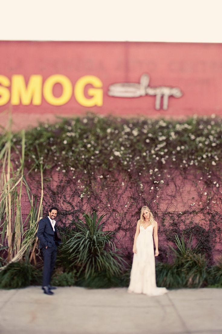 affordable wedding photographers in los angeles%0A A Super colorful Vintage and Modern inspired wedding shot in Los angeles at  the Smog Shoppe by mark brooke photographers