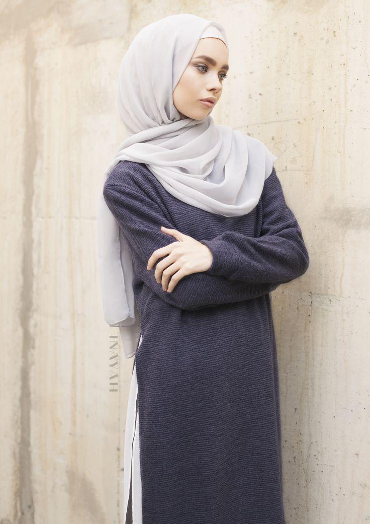 INAYAH | Feather Grey #Maxi Silk Chiffon #Hijab + Navy Long #Jumper With Slits…
