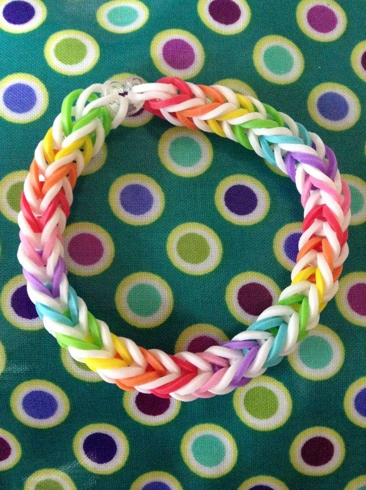 Rainbow and white rainbow loom rubber band bracelet