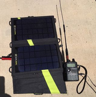 Nomad 7 Solar Panel modified for amateur radio use while backpacking.