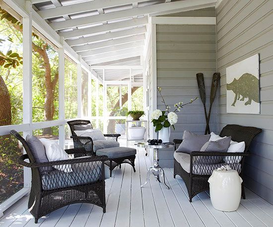 Pretty Porches We Love Colors White Pillows And Outdoor