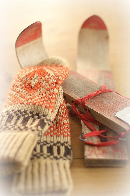 vintage skis and mittens by lucia and mapp, via Flickr