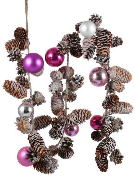 Frosty Pine Cone Christmas Garland With Shiny And Matte Pink Ornament Balls. Get in on Pantone's color for 2014, Radiant Orchid; the ornament balls have a similar hue.