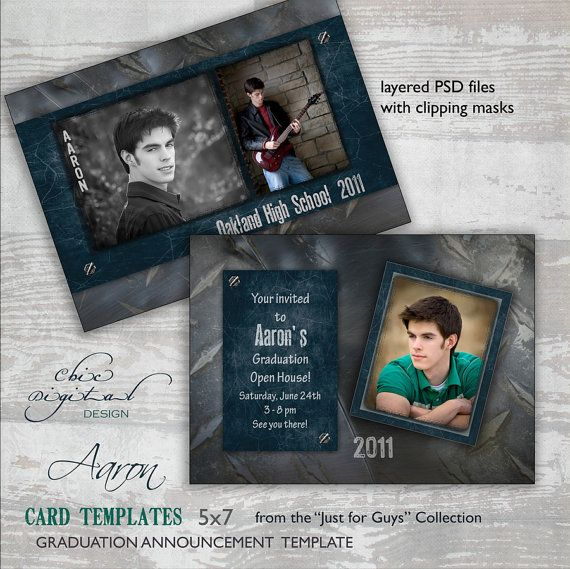 Graduation Announcement Card Template for Photographers - 5x7 Guys Senior Graduation Invitation - AARON.ChicDigitalDesign. Etsy.