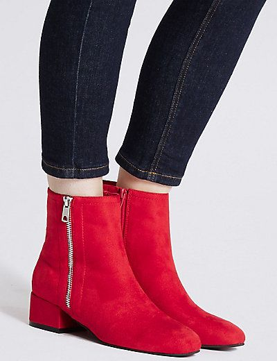Block Heel Side Zip Ankle Boots | M&S