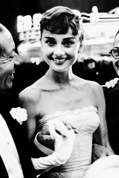 "September 14, 1953, Cole Porter and Audrey Hepburn at the ""Roman Holiday"" premiere, in Westwood, California."