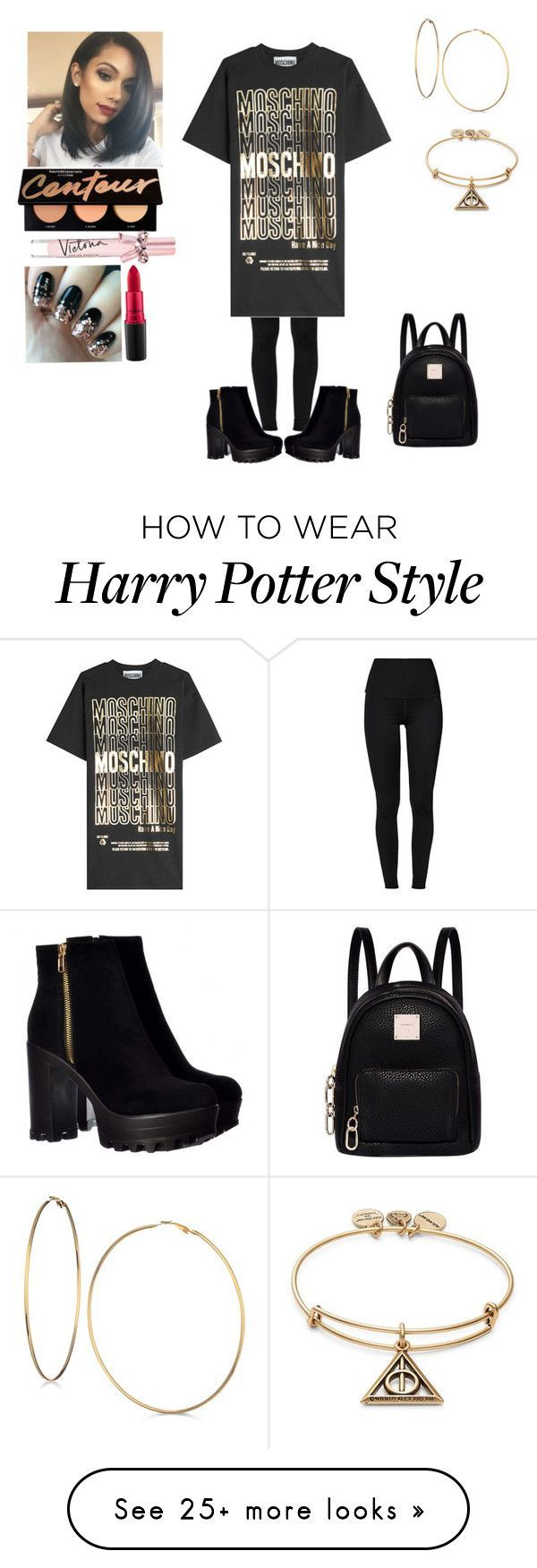 """Moschino shirt dress"" by rebeccadavisblogger on Polyvore featuring Moschino, Fiorelli, GUESS, Alex and Ani, Victoria's Secret and MAC Cosmetics"