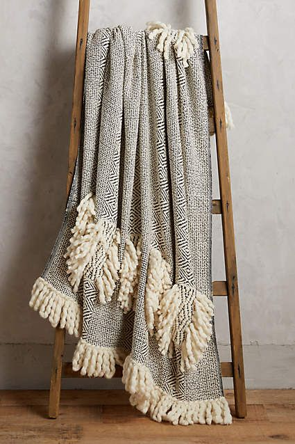 Anthropologie EU Newport Throw. Cosy up to the plush textures and neutral hues of this oh-so soft tasselled throw.
