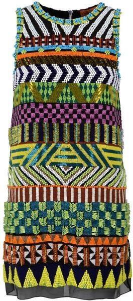 Miçangas em um tema étnico. Alphonsine Beaded Tribal inspired Shift Dress - MISSON