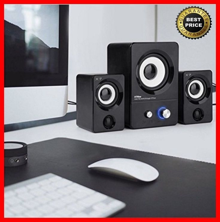 Computer Laptop Stereo 2.1 Speaker System Subwoofer Desktop Gaming Systems New #HTRise