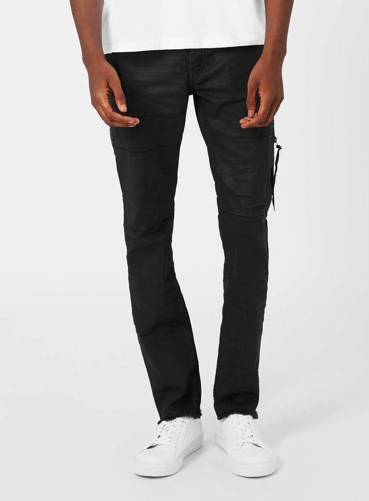 AAA Black Coated Denim Zip Skinny Jeans - TOPMAN EUROPE