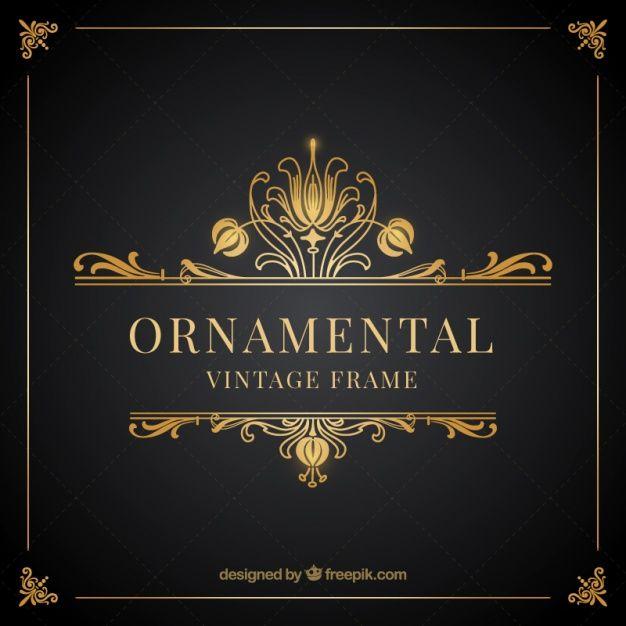 Frame decorativo do vintage de ouro Vetor grátis