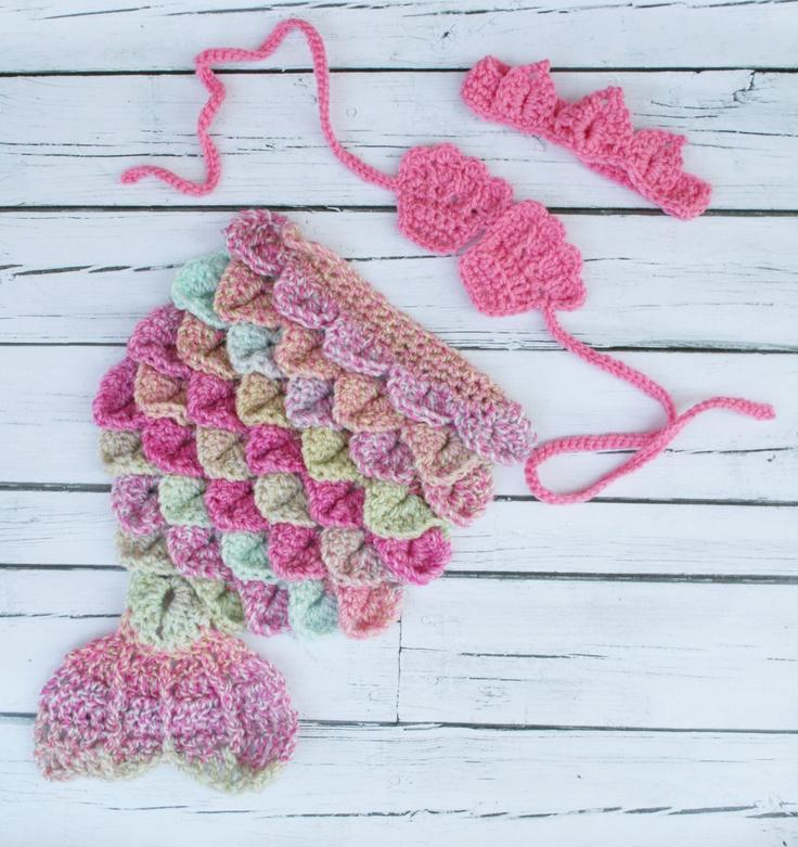 Mermaid Cape Set Newborn Baby Crochet. $35.00, via Etsy.