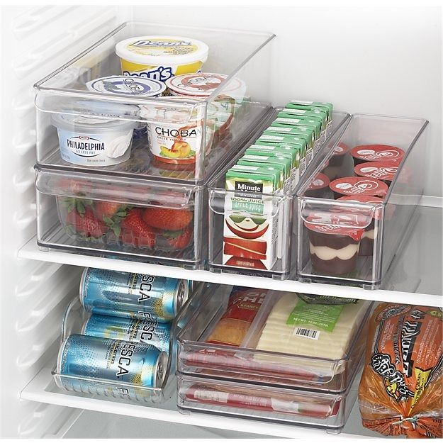 Durable, modular bins in various sizes are designed to customize and organize the fridge or pantry. Space-saving, view-through fridge organizers with integrated handles and feet stack for convenience.