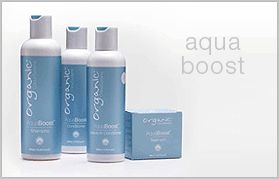 Aqua Boost Shampoo/ Conditioner / Treatment / Leave-in Conditioner For naturally dry or hard hair, the Aqua Boost range is designed to soften the hair's natural inner protein and add moisture to the cuticle allowing it to open and close making the hair more pliable. Designed for everyday use, the Aqua Boost Shampoo can also be used prior to a colour or perm service on hard, grey hair allowing the cuticle to open naturally.