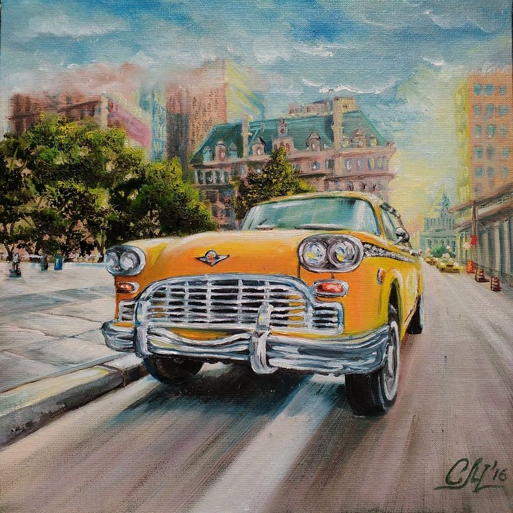 Retro cityscape Original oil painting American old Yellow taxi OOAK hand painted…