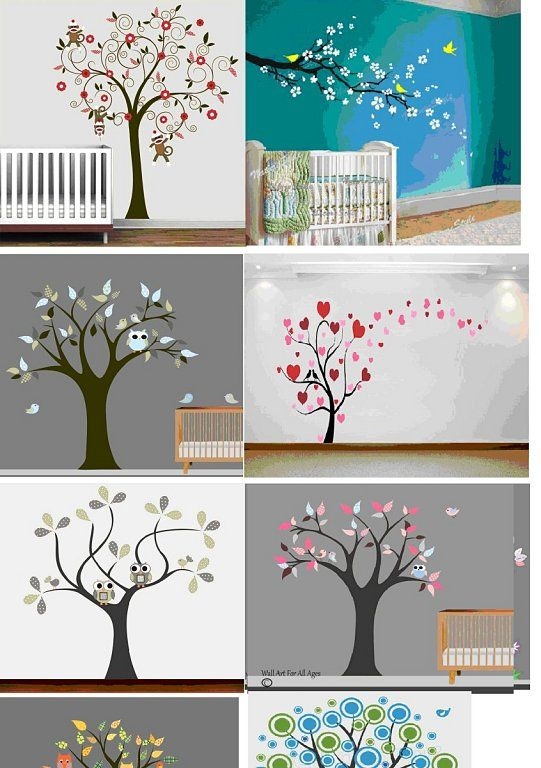 Árboles decorativos pintados en la pared