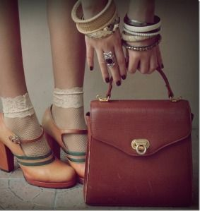 Love the vintage shoes!! (my colors!!) - (without the socks)