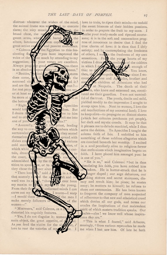 halloween skeleton decor dictionary art vintage dancing