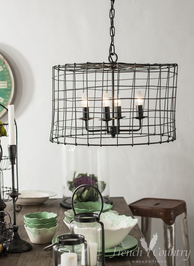 Industrial Cage Chandelier www.frenchcountry.co.nz
