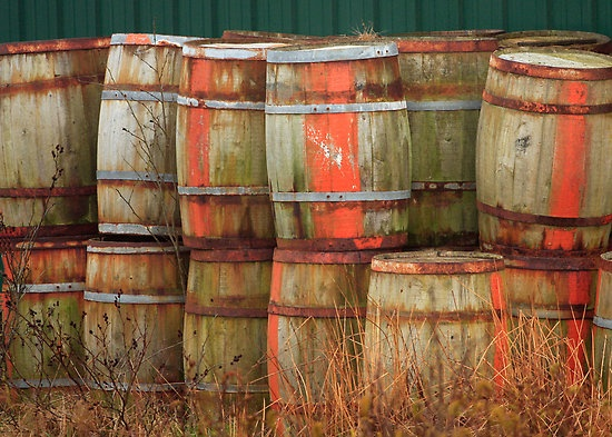 Barrels with green background