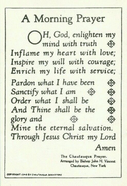 A Morning Prayer. Would be nice to put near the mirror in the Bathroom.