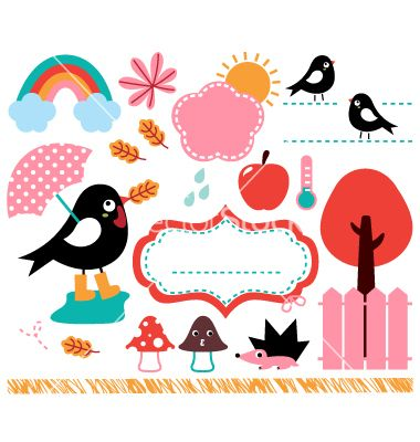 Cute swallow and autumn elements set vector 1540975 - by lordalea on VectorStock®