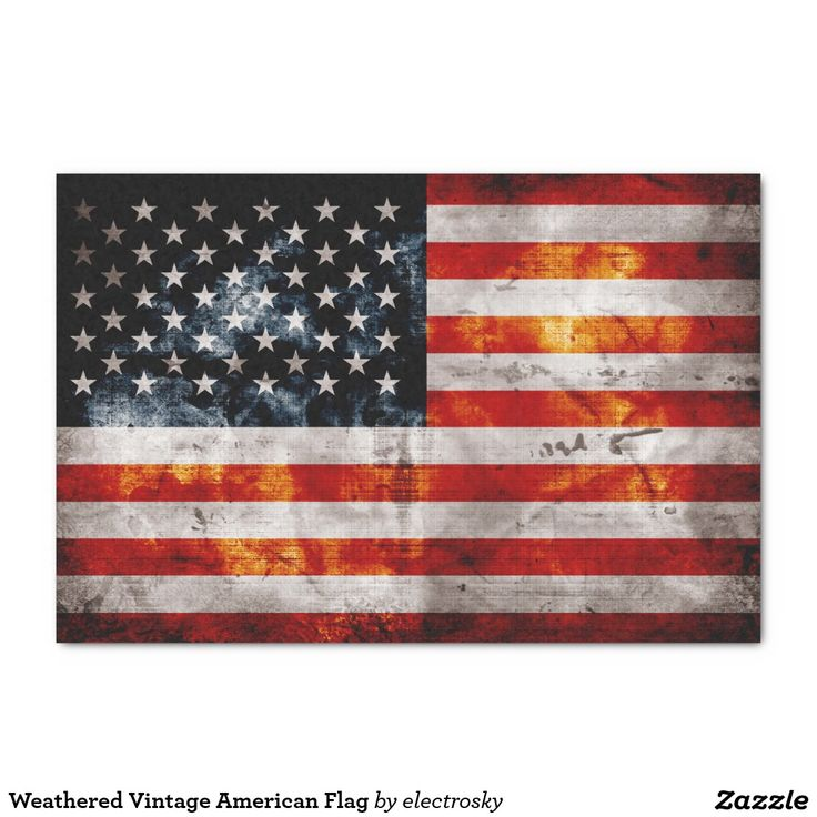 """Weathered Vintage American Flag 10"""" X 15"""" Tissue Paper"""
