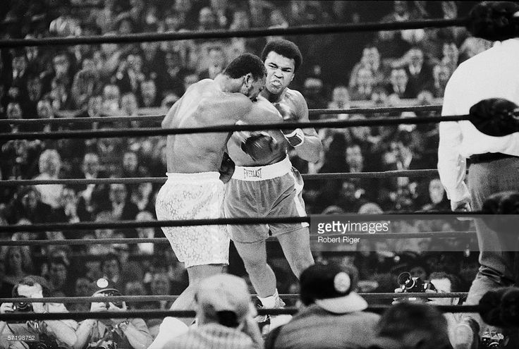 Former American heavyweight boxing champion Muhammad Ali (right) delivers a punch to current champ Joe Frazier's head during their 'Fight of the Century' bout at Madison Square Garden, New York, March 8, 1971. Frazier won a decision after 15 rounds. For Ali, who was stripped of his title for his political views, this was his first actual career loss in the ring.