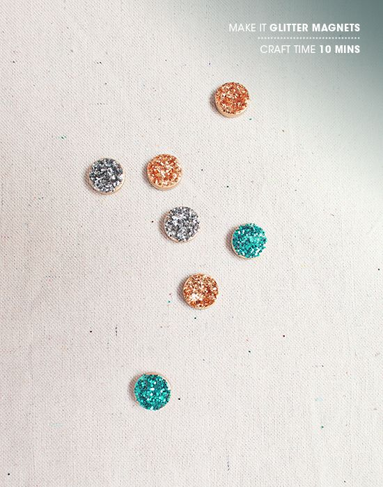 Glittery magnets