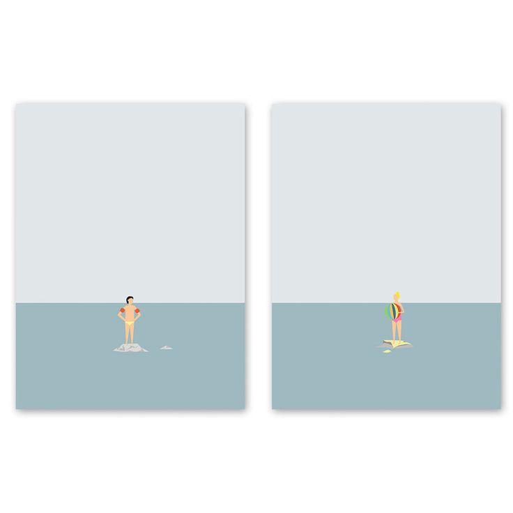 Ocean Svømmere Set (Unframed)