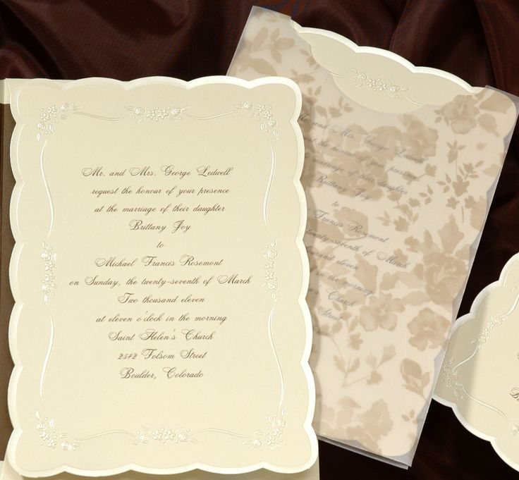 wedding reception directions card%0A This ecru invitation card has beautiful scalloped edges in pearl  It sits  inside a decorative