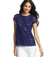 Paillette Lace Tee - Sprinkled with paillettes across the front for blissful shimmer, we're absolutely captivated by this adorably swirly lace tee. Jewel neck. Short sleeves. Lined.  Find this at Loft