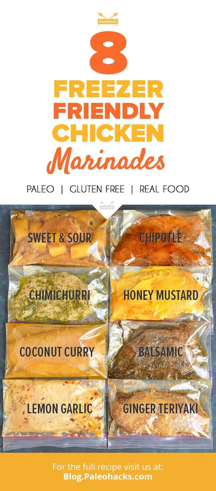 8 Freeze-Friendly Chicken Marinades  #justeatrealfood #paleohacks