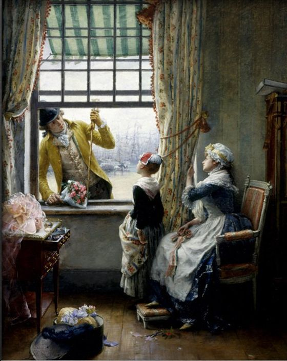 A secret admirer by PierreOutin (1840-1899). #classic #art #painting
