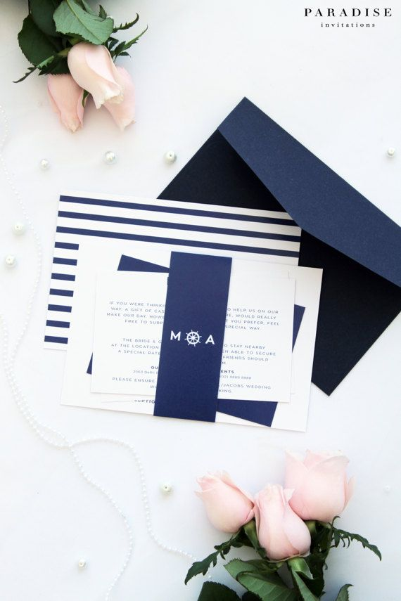 Gorgeous Nautical Theme Wedding Invitation Sets Printable