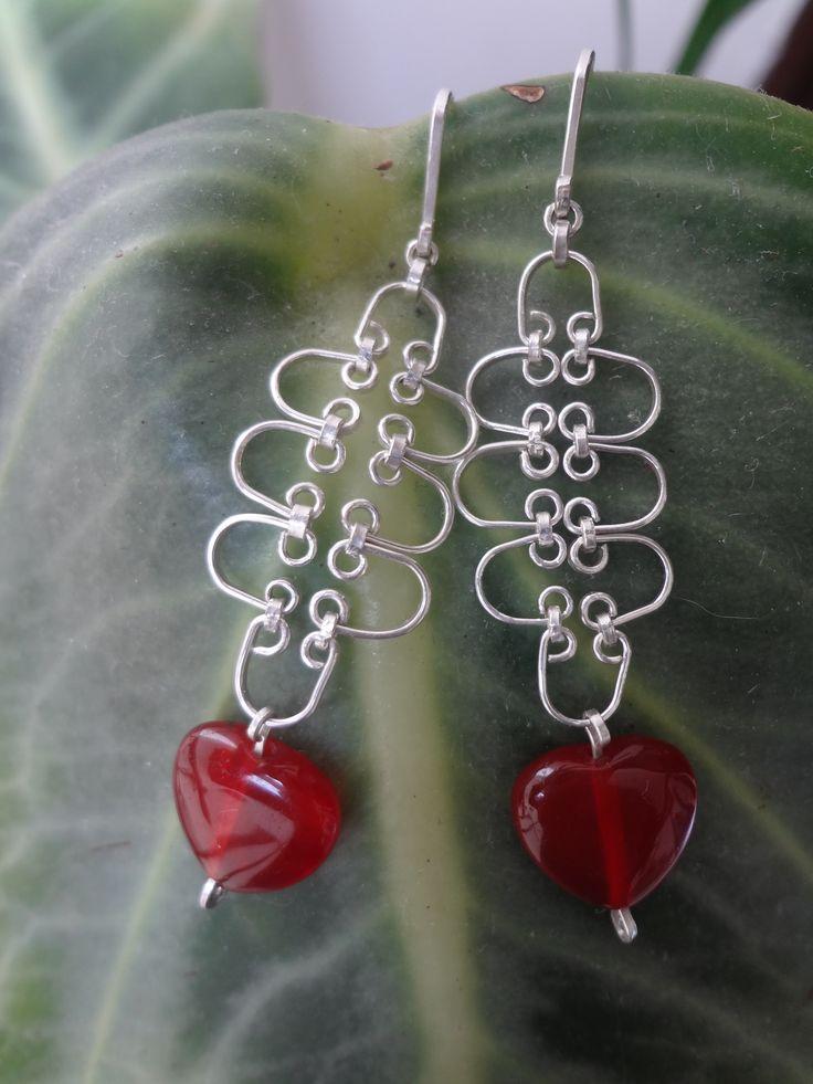 Aretes en plata y ágata roja.
