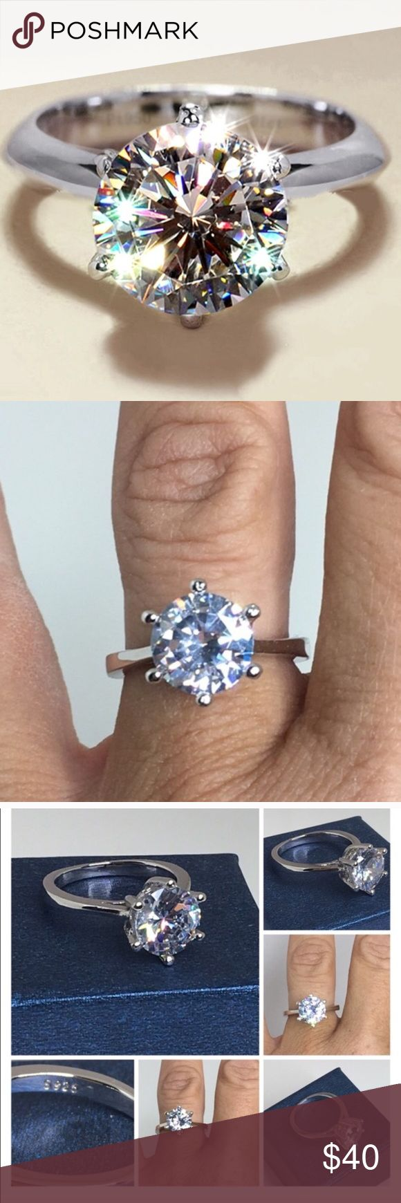 3carat Cz Engagement Ring 925 Sterling Silver Aaa Nwt