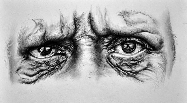 Eyes - Sad Man - Desen în Creion de Corina Olosutean // Eyes - Sad Man - Pencil Drawing by Corina Olosutean