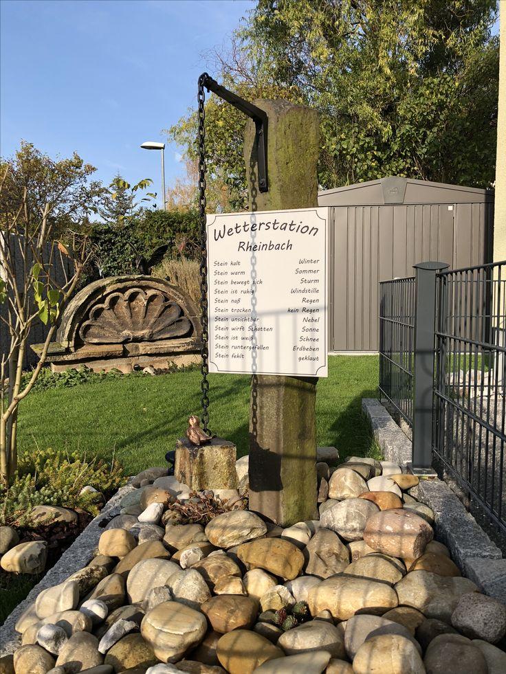 www.steinmetz-rheinbach.de  Lustiger Wetterstein - #Wetterstation,   #Gartenbrunnen, #Natursteinbrunnen