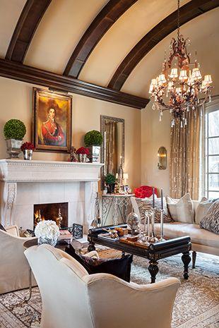 Gorgeous living room with beamed ceiling, interior design ideas and home decor via Joy Tribout Interior Design