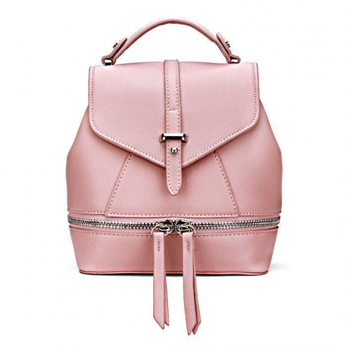 кожа-Look Мини рюкзак во всех Pink - US$31.95 -YOINS