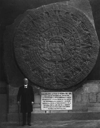 Porfirio Diaz with the Sun Stone, at National Museum
