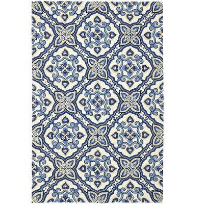 Pattern reminiscent of antique Majorcan tile, in a deep indigo - Mediterranean Rugs - Pier1