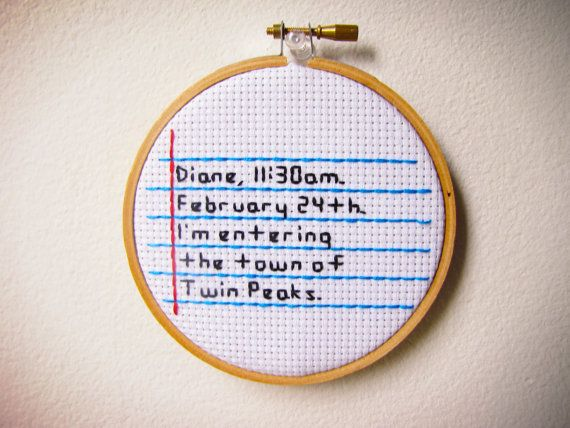Twin Peaks Dale Cooper Quote Original Handmade by StitchinForDays