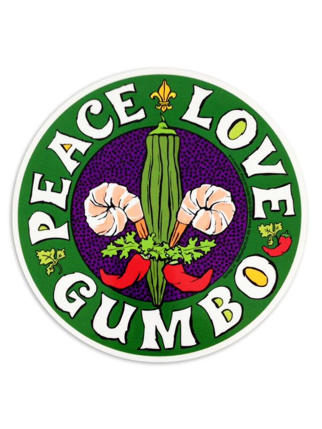 "From Fleurty Girl retailer Circle Car Magnet, Peace Love Gumbo. Large car magnet with a ""gumbo"" fleur de lis made of okra, shrimp, and peppers. Great for the car, truck, or refrigerator! Size is 6 inches."